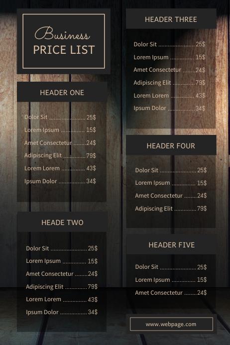 wood Business Price List Template Beauty 海报