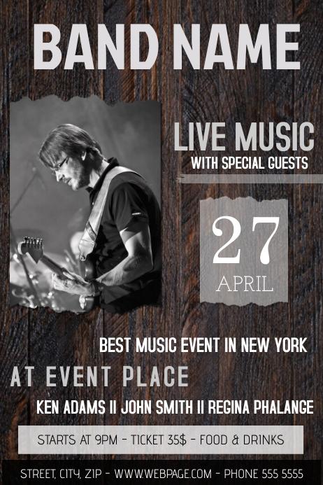wood concert band guitar music flyer template