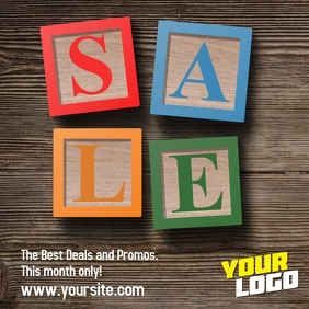 Wood Cubes Sale Publicación de Instagram template