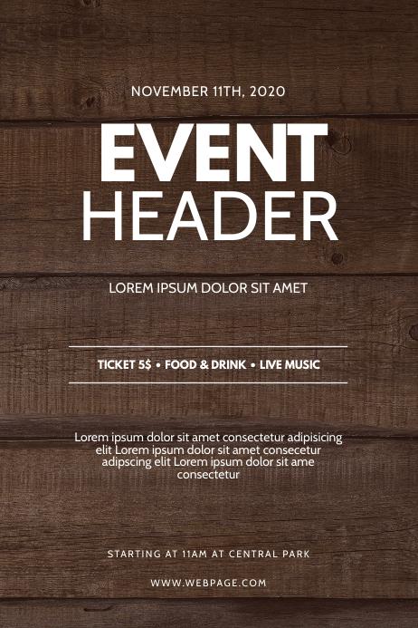 Wood Event Flyer Design Template