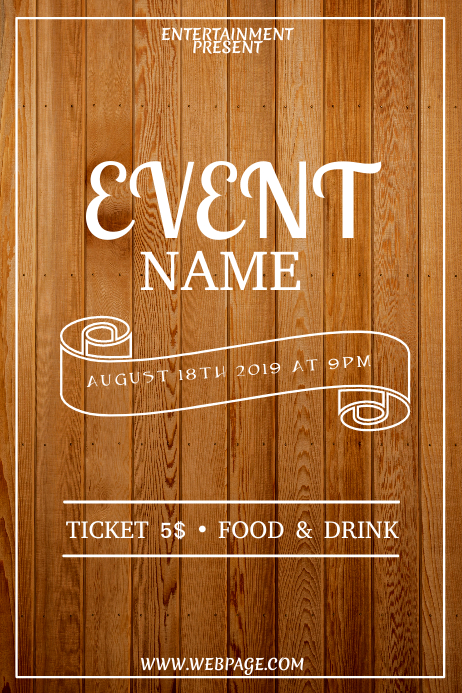 Wood event flyer template 海报