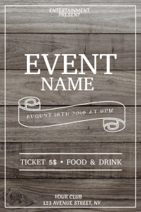 Wood event flyer template Poster