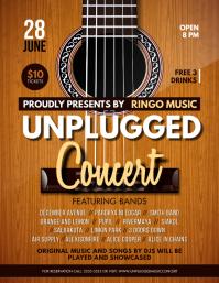 Wood Guitar Unplugged Concert Flyer Template 传单(美国信函)