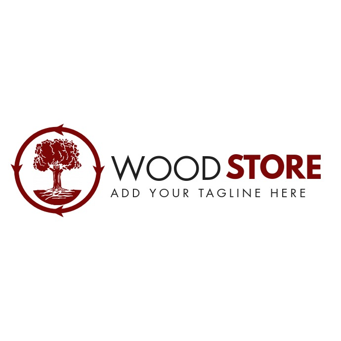 Wood logo tree icon template