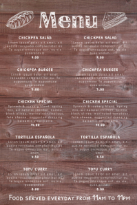 Wood Menu Poster Template