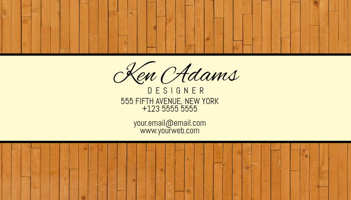 wood simple business card template Kartu Bisnis