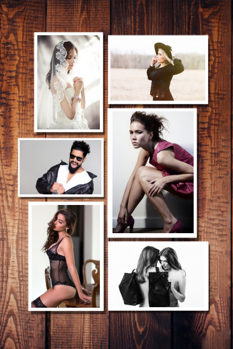 wood wall photographty familt photo collage poster template