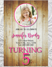 WOOD WOODEN PARTY FLYER POSTER TEMPLATE