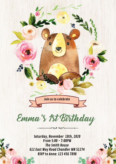 Woodland bear birthday theme invitation A6 template