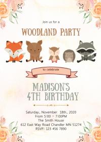 Woodland birthday party invitation