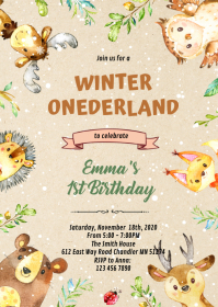 Woodland winter fun invitation
