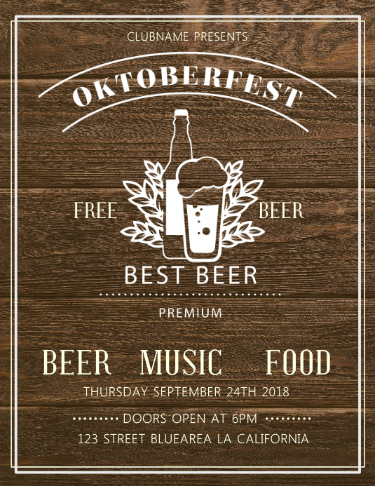 Woodwork Oktoberfest Bar Flyer Template