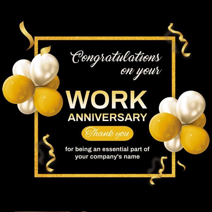 Work anniversary,event,anniversary, birthday Cuadrado (1:1) template