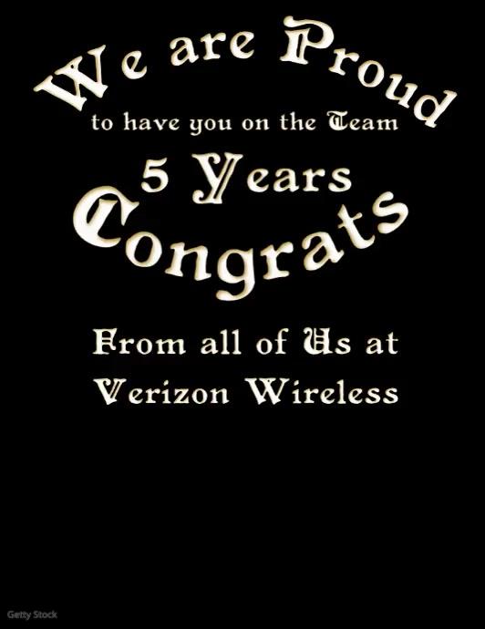 Work Anniversary Confetti Video Card Volante (Carta US) template