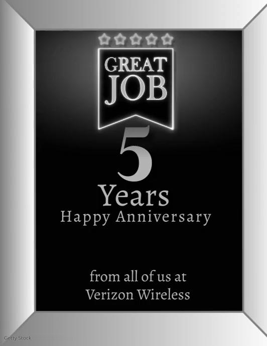 Work Anniversary Video Card Volante (Carta US) template