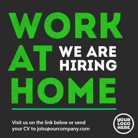 Work At Home hiring instagram square video ad