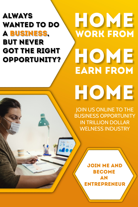 Work From Home Business Template Cartaz