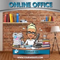 Work from Home Online Office Square (1:1) template