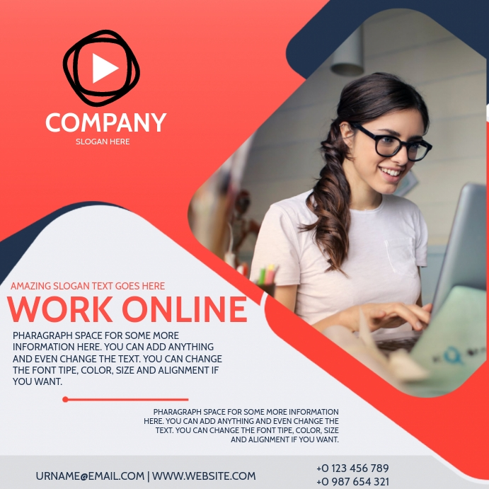 WORK ONLINE FROM AT HOME AD TEMPLATE Vierkant (1:1)
