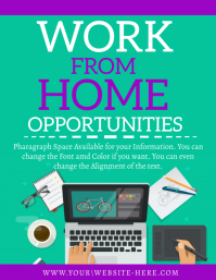 WORK online FROM HOME flyer template
