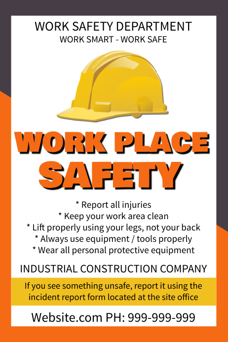 work safety poster template postermywall. Black Bedroom Furniture Sets. Home Design Ideas