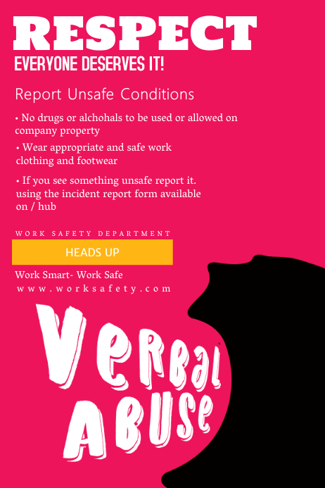 Work Safety Verbal Abuse Poster Template