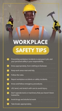 Workerplace Safety Tips Digital Signage Digitalanzeige (9:16) template