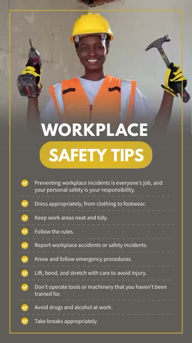 Workerplace Safety Tips Digital Signage Digitalt display (9:16) template