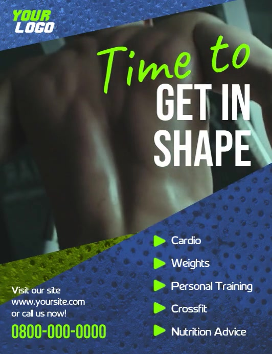 Workout gym sports video flyer template