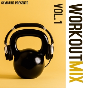 workout music album cover design template ปกอัลบั้ม