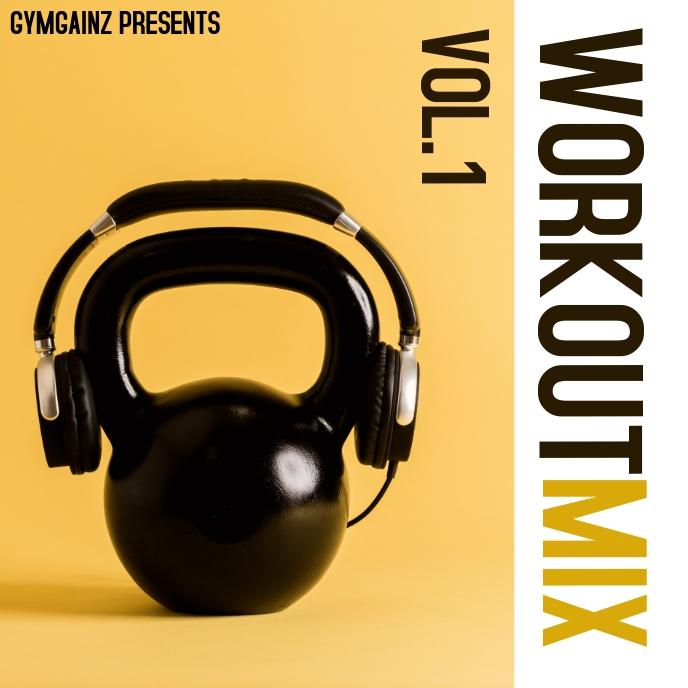 workout music album cover design template ปกอัลบั้ม