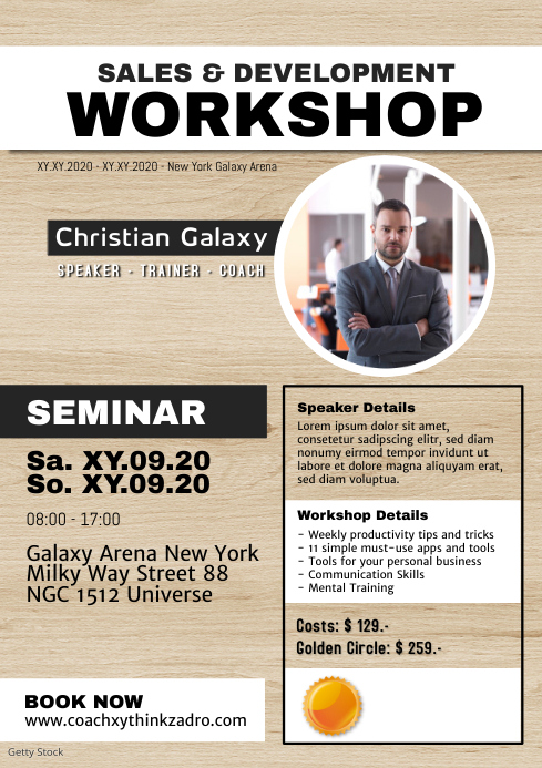 Workshop Coach Speaker Trainer Motivation A4 template