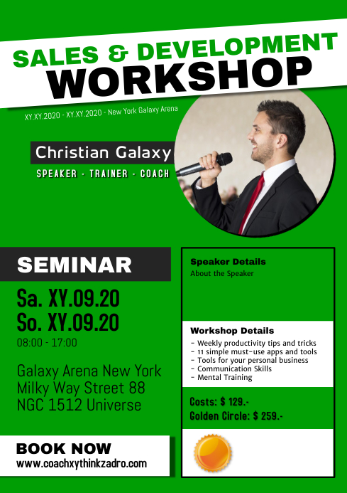 Workshop Coach Speaker Trainer Motivation personal developer