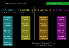 Workshop time table planner template A4