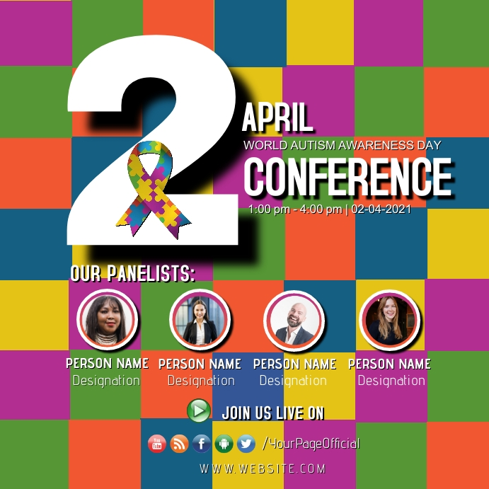 World Autism Awareness Day Conference Seminar Pos Instagram template