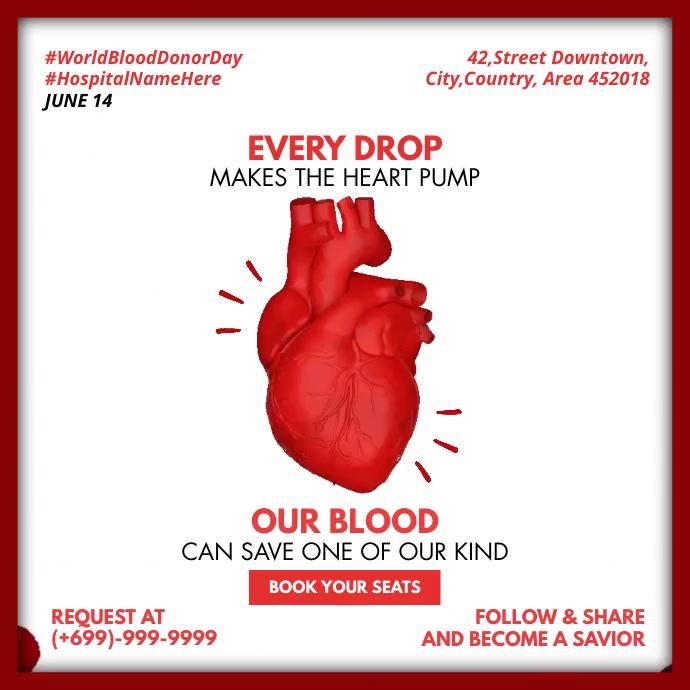 World Blood Donor Day Template Instagram-Beitrag
