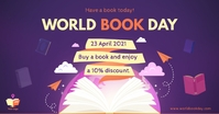 World Book day special discount offer delt Facebook-billede template