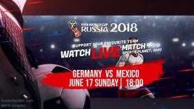 World Cup 2018 Watch Live Match Flyer Poster Digital Display
