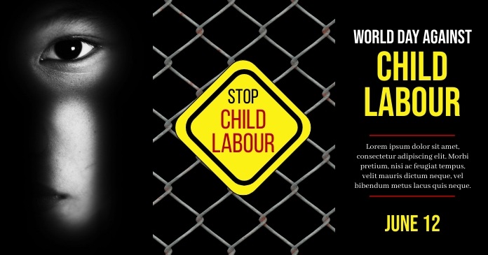 World day against Child Labor, Child Labour Facebook 共享图片 template