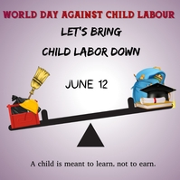 world day against child labour,child labour Instagram Post template