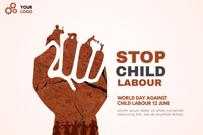 world day against child labour BANNER 横幅 4' × 6' template