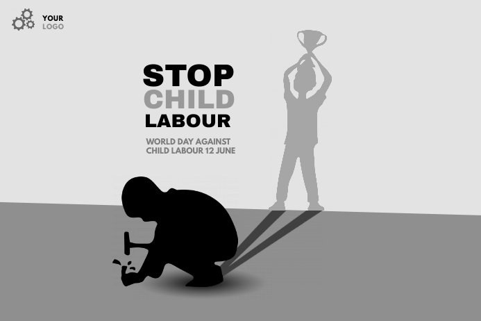 world day against child labour 横幅 4' × 6' template