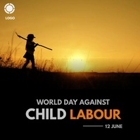 world day against child labour Instagram Post template