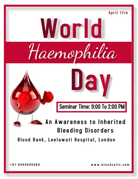 World Haemophilia Day Volantino (US Letter) template