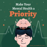 World mental health day make health a priorit Instagram-opslag template