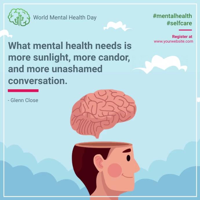 World mental health day quote social stigma โพสต์บน Instagram template