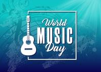 World Music Day Banner Postal template