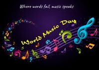 world music day Postcard template