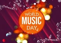 World Music Day Post Card Briefkaart template