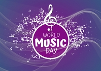 World Music Day Post Postcard template